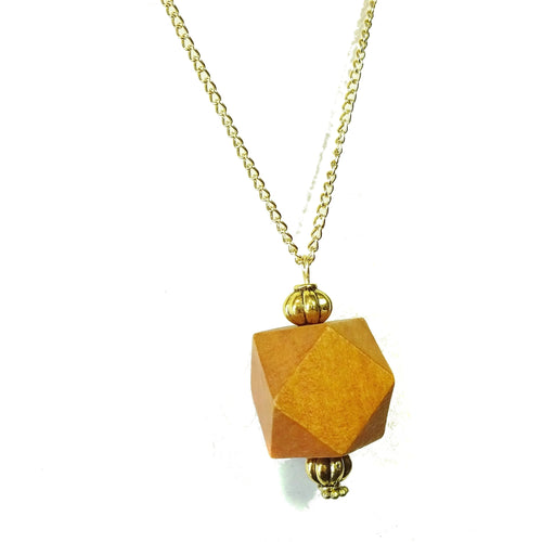 Cinnamon Brown & Old Gold Geometric Wood Pendant