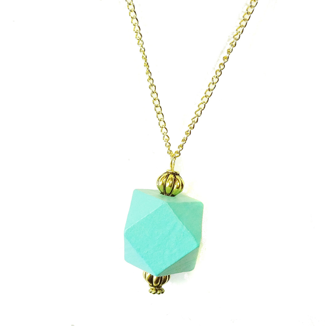 Aqua Blue & Old Gold Geometric Wood Pendant