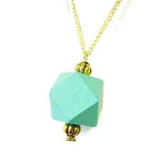 Load image into Gallery viewer, Aqua Blue & Old Gold Geometric Wood Pendant