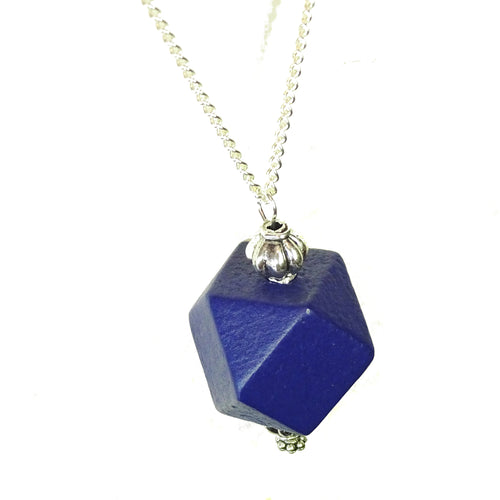 Navy Blue & Antique Silver Geometric Wood Pendant