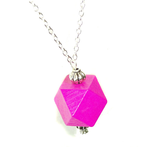 Magenta Pink & Antique Silver Geometric Wood Pendant