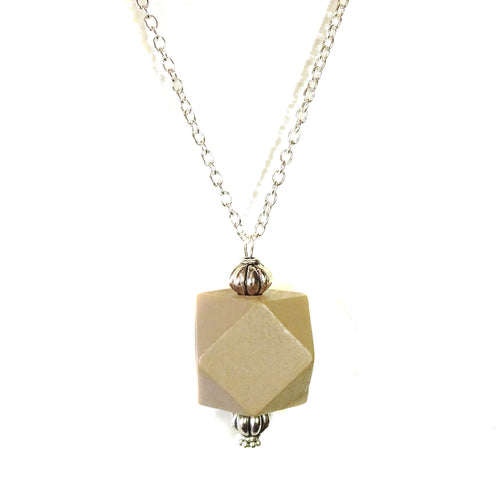 Mushroom Brown & Antique Silver Geometric Wood Pendant