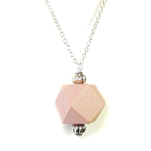 Soft Pink & Antique Silver Geometric Wood Pendant