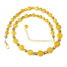 Load image into Gallery viewer, Semi-Precious Orange Aventurine & Old Gold Necklace 21-23.5 inches