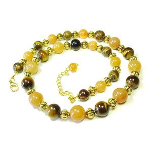 Semi-Precious Brown Tiger's Eye, Orange Aventurine & Old Gold Necklace 21- 23.5 inches