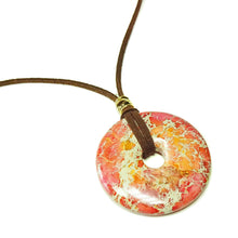 Load image into Gallery viewer, Orange Sea Sediment Jasper Large Round Gemstone Donut Pendant - 50mm