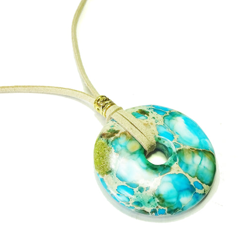 Aqua Blue Sea Sediment Jasper Large Round Gemstone Donut Pendant - 50mm