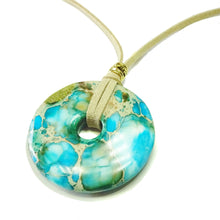 Load image into Gallery viewer, Aqua Blue Sea Sediment Jasper Large Round Gemstone Donut Pendant - 50mm