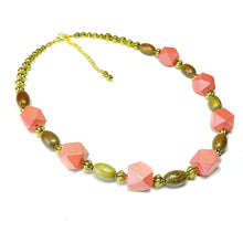 Load image into Gallery viewer, Geometric Coral, Brown & Antique Gold Wood Bead Necklace