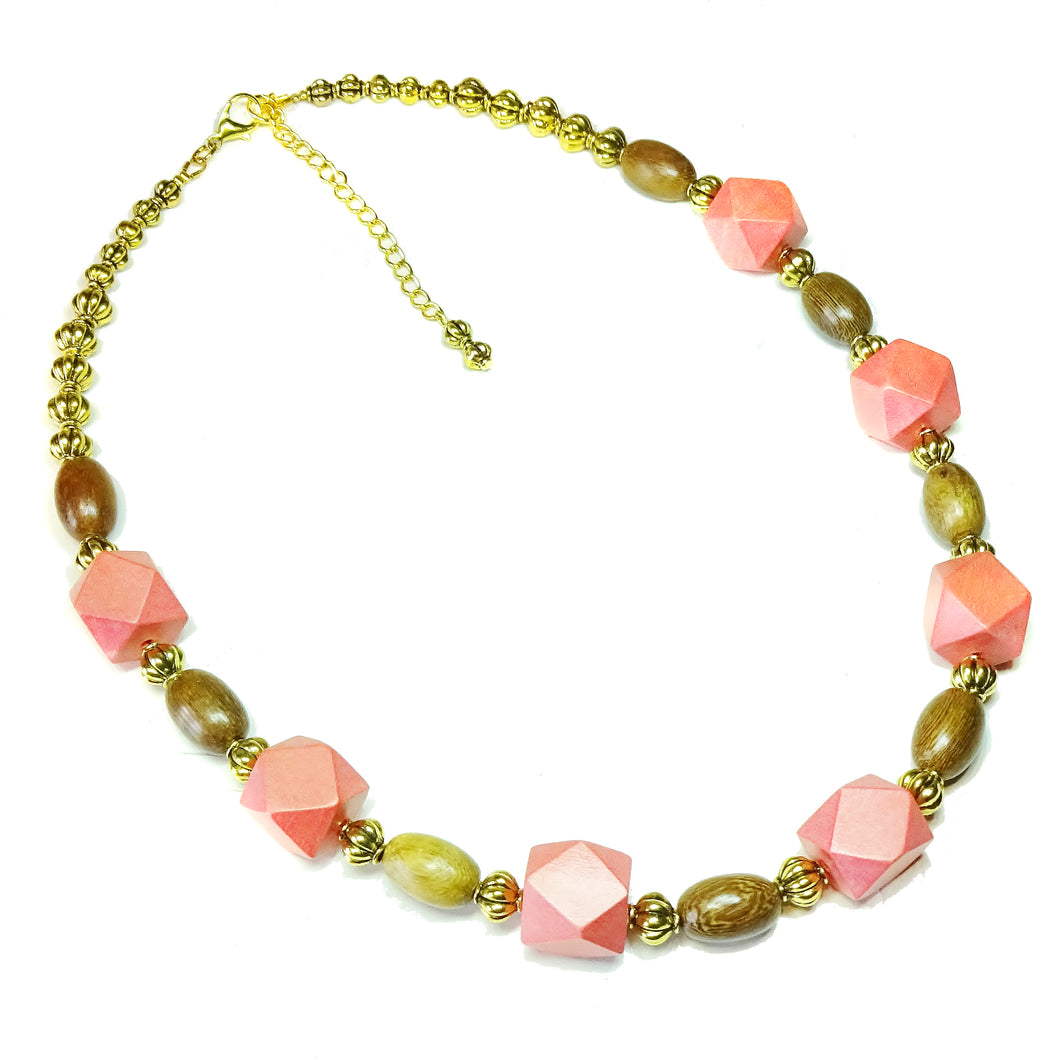 Geometric Coral, Brown & Antique Gold Wood Bead Necklace