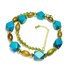Load image into Gallery viewer, Geometric Dark Teal Blue, Brown & Antique Gold Wood Bead Necklace