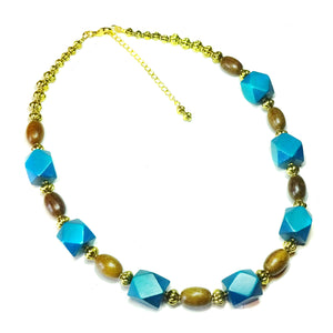 Geometric Dark Teal Blue, Brown & Antique Gold Wood Bead Necklace