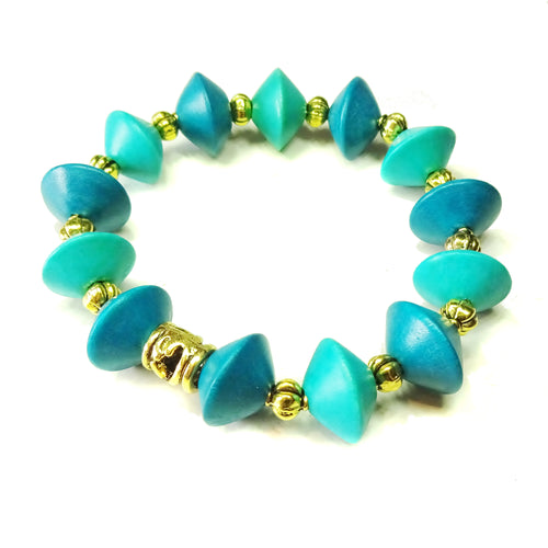 Kingfisher & Peacock Blue Wood & Old Gold Stretch Bracelet 20cm
