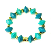 Load image into Gallery viewer, Kingfisher & Peacock Blue Wood & Old Gold Stretch Bracelet 20cm