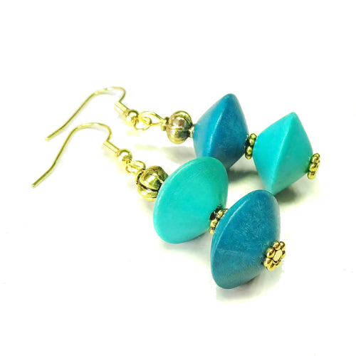 Kingfisher & Peacock Blue Wood & Old Gold Drop Earrings