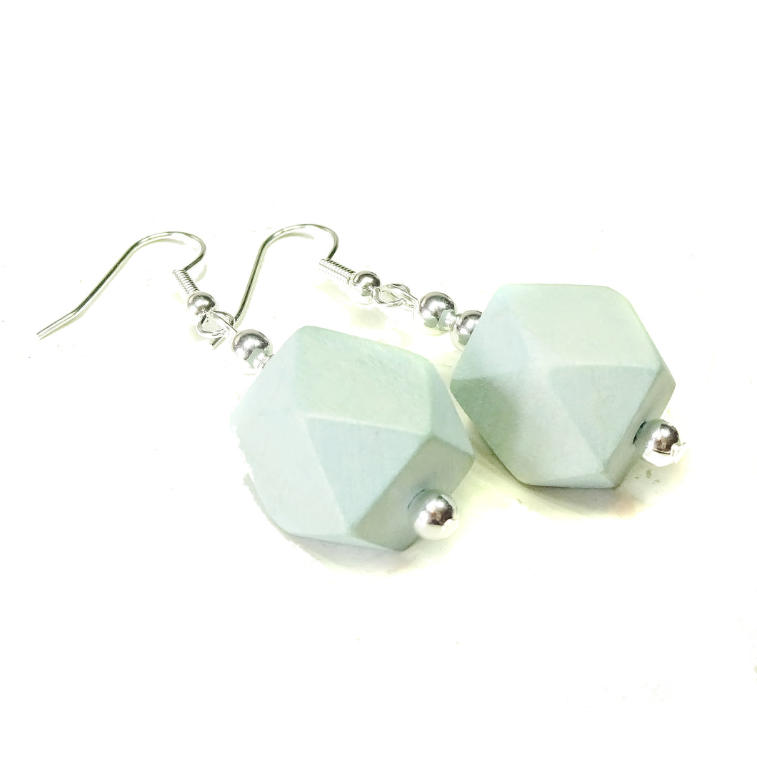 Geometric Pale Blue Wood Drop Earrings