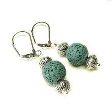 Load image into Gallery viewer, Dark Green Lava Stone Lever Back Drop Earrings