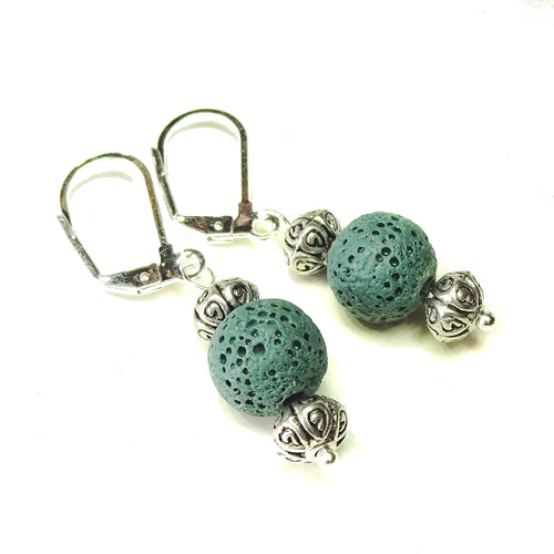 Dark Green Lava Stone Lever Back Drop Earrings