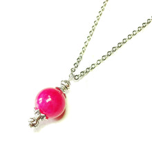 Load image into Gallery viewer, Bright Pink Semi-precious Jade & Antique Silver Ball Pendant