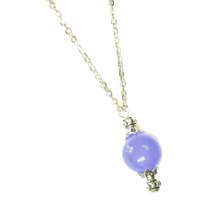 Lilac Purple Semi-precious Jade & Antique Silver Ball Pendant
