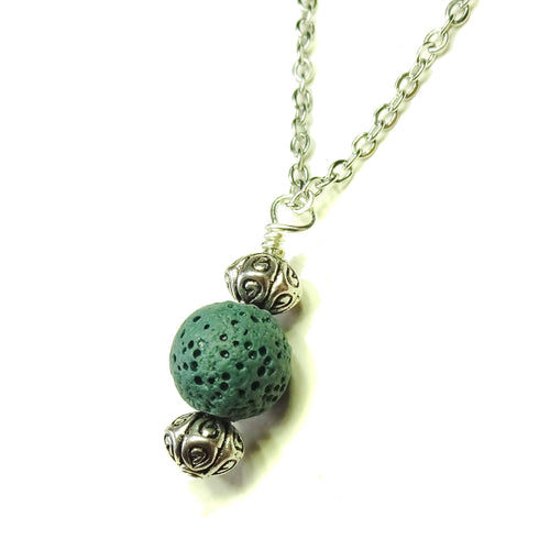 Green Lava Stone & Antique Silver Ball Pendant