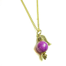 Load image into Gallery viewer, Purple Mountain Semi-precious Jade & Gold Plated Ball Pendant