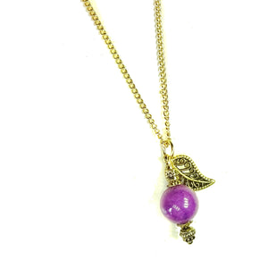 Purple Mountain Semi-precious Jade & Gold Plated Ball Pendant