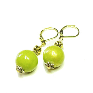 Olive Green Mountain Jade and Old Gold Lever Back Earrings