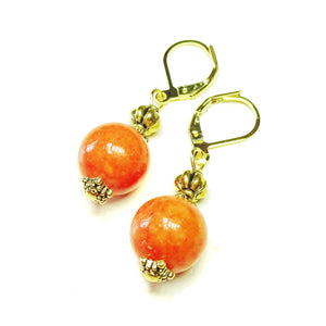 Orange Mountain Jade and Old Gold Lever Back Earrings