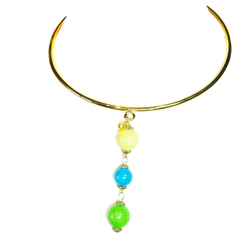 Yellow, Blue & Apple Green Three Bead Mountain Jade Pendant