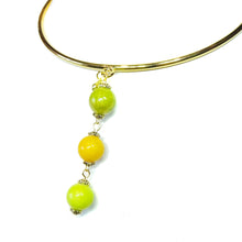 Load image into Gallery viewer, Olive Green, Mustard Yellow & Lime Green Three Bead Mountain Jade Pendant