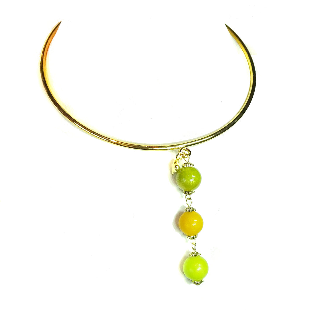 Olive Green, Mustard Yellow & Lime Green Three Bead Mountain Jade Pendant