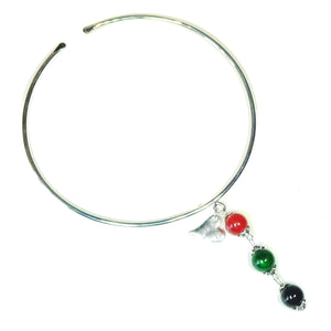 Forest Green, Red & Black Three Bead Semi-precious Pendant & Silver Plated Torque Collar Necklace
