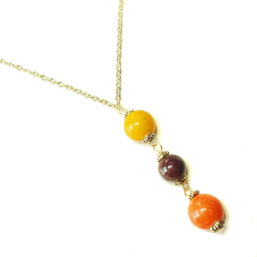 Yellow, Orange & Brown Three Bead Mountain Jade Pendant