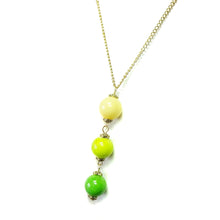 Load image into Gallery viewer, Lime Green, Apple Green & Yellow Three Bead Mountain Jade Pendant
