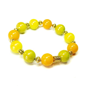 Lime Green, Olive & Yellow Mountain Jade Gemstone and Old Gold Stretch Bracelet - 19.5cm