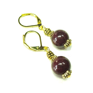 Chocolate Brown Mountain Jade and Old Gold Lever Back Earrings
