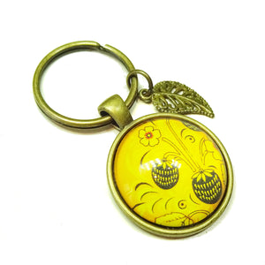 Yellow Floral Glass Cameo Antique Brass Keyring / Key Fob