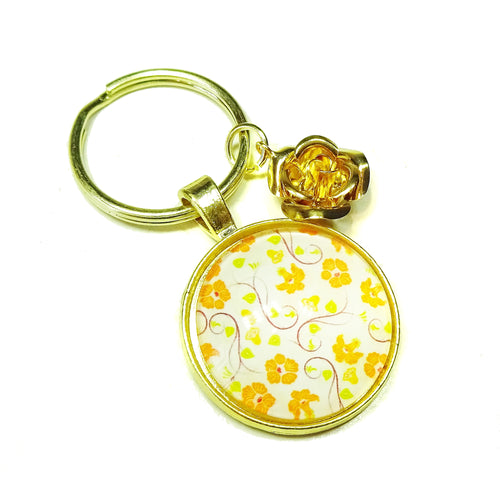 Orange & Yellow Floral Glass Cameo & Gold Keyring / Key Fob