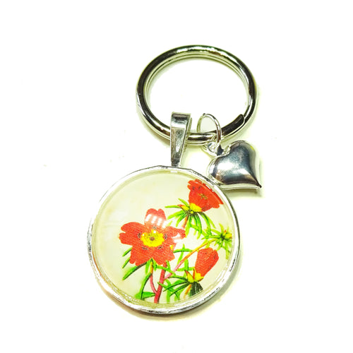 Red & Yellow Floral Glass Cameo Keyring / Key Fob