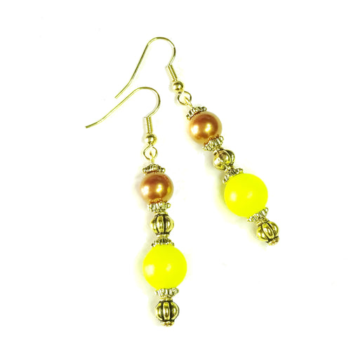 Bronze, Luminous Yellow Swarovski Pearl & Old Gold Drop Earrings