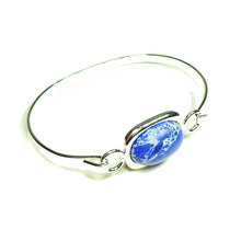 Load image into Gallery viewer, Semi-precious Blue Sea Sediment Jasper Gemstone Oval Cabochon Bangle