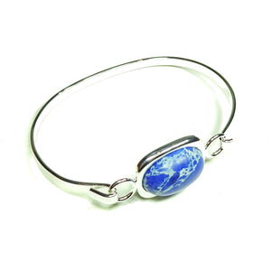 Semi-precious Blue Sea Sediment Jasper Gemstone Oval Cabochon Bangle