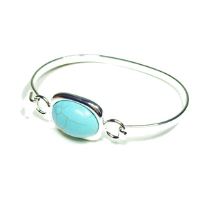 Semi-precious Blue Turquoise Gemstone Oval Cabochon Bangle