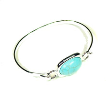 Load image into Gallery viewer, Semi-precious Blue Turquoise Gemstone Oval Cabochon Bangle