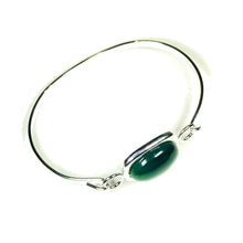 Load image into Gallery viewer, Semi-precious Green Onyx Gemstone Oval Cabochon Bangle