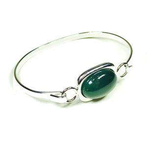 Semi-precious Green Onyx Gemstone Oval Cabochon Bangle