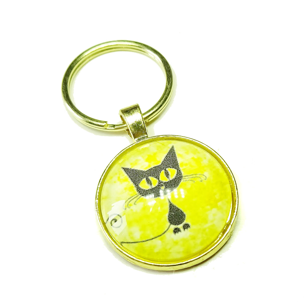 Black Cat & Yellow Glass Cameo & Gold Keyring / Key Fob / Bag Charm