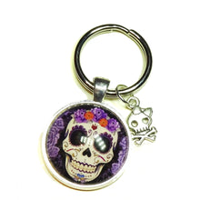 Load image into Gallery viewer, Black & Purple Gothic Sugar Skull Glass Cameo Keyring / Key Fob