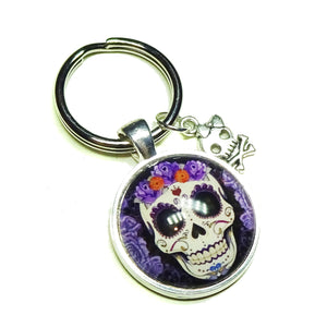 Black & Purple Gothic Sugar Skull Glass Cameo Keyring / Key Fob